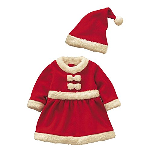 Baby Christmas Red Romper Suit Dress With Hat 90