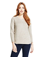 Indigo Collection Yoke Flecked Jumper with Wool