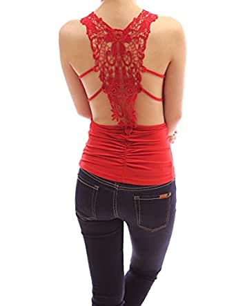 PattyBoutik Sexiest & Stunning Lace Back Ruched Halter Clubwear Top (Red XL)