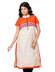 B3Fashion Designer Trendy Jute Kurti With Orange Georgette Yoke And Embroidered Lace Work With Slit Sleeves And...