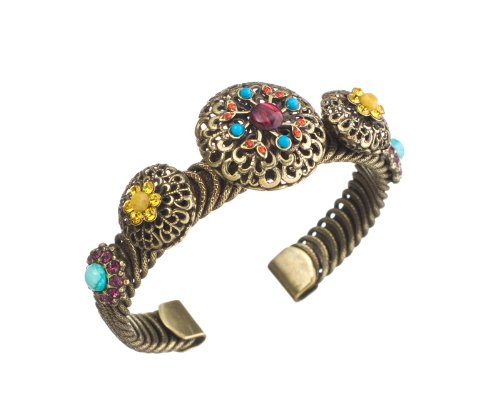 Amaro Jewelry Studio 'Vintage' Collection Cuff Open Bracelet Set with Flowery Elements with Chinese Turquoise, Amazonite, Rhodonite, Blue Onyx, Pink Howlite, Yellow Jade, Green Jade, Amethyst and Swarovski Crystals