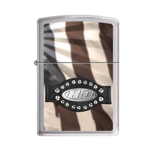 Zippo Harley Davidson Motorcycles Logo Brushed Chrome Lighter