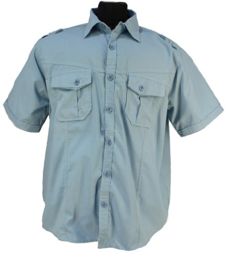 Italian Design - Mens Lavecchia Casual Short Sleeve Military Style Shirt in blue: 6XL