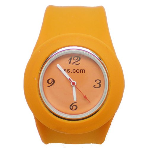 BestOfferBuy Unisex Round Silicon Band Strap Slap On Watch Analog Candy Orange