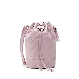 Hoxis Quilted Soft Pebbled Faux Leather Drawstring Bucket Mini Cross Body Shoulder Bag(lavender)