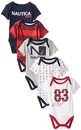 Nautica Baby-Boys Newborn 5 Pack Sport Americana Bodysuit, Assorted, 0-3 Months