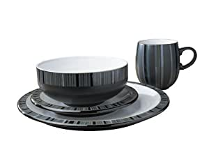 Denby Jet Stripes 4 Piece Boxed Tableware Set