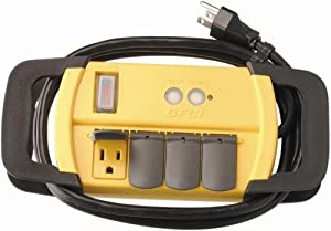 Coleman Cable 04644 4-Outlet GFCI Power Strip, 15-Amp, Workshop Rated, 6-Foot (Color: Yellow, Tamaño: 4 Outlet)