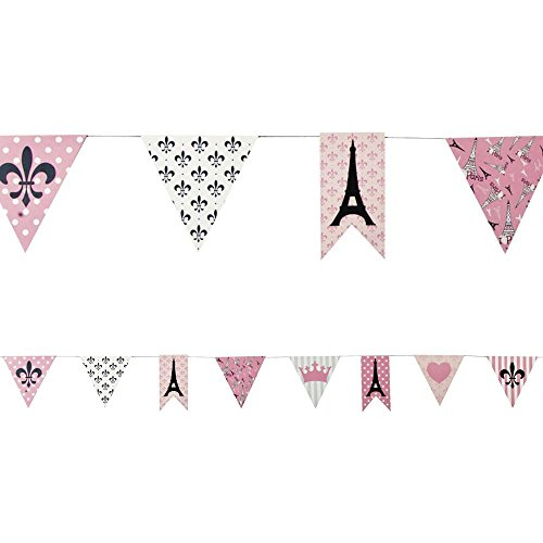 Fun Express Paris Party Paper Pennant Banner Novelty, 7'