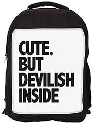 Snoogg Cute But Devilish Inside Backpack Rucksack School Travel Unisex Casual Canvas Bag Bookbag Satchel