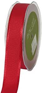 May Arts 1-Inch Wide Ribbon, Red Grosgrain with Satin Edge