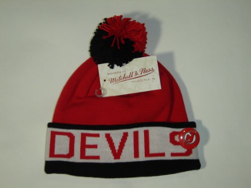 Mitchell and Ness NHL New Jersey Devils Vintage Block Cuffed Knit Hat Pom Beanie at Amazon.com