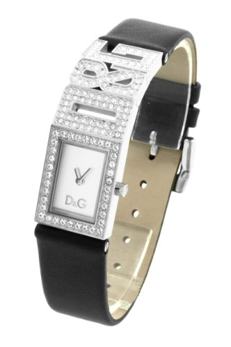 D & G Ladies Watch DW0505 With Silver Analogue Dial, Stainless Steel Stone Set Case with The D & G Logo and Black Leather Strap