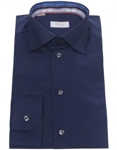 Eton Men's Shirt Navy Slim Fit Formal UK 15.5