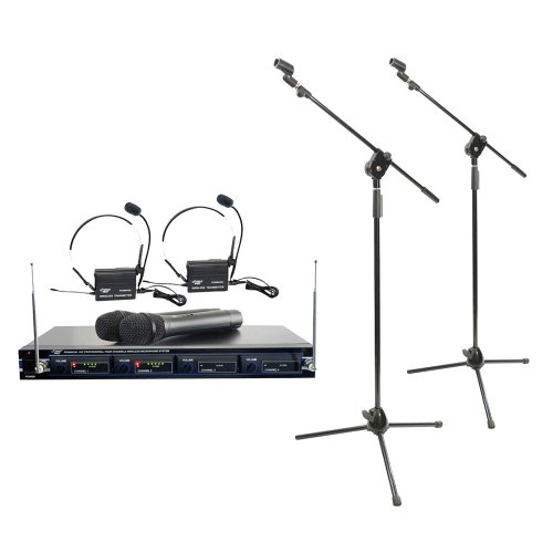 Pyle Mic And Stand Package - Pdwm4300 4 Mic Vhf Wireless Rack Mount Microphone System - X2 Pmks3 Tripod Microphone Stand W/ Extending Boom