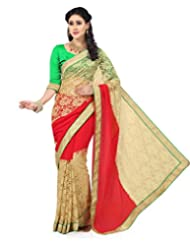 Beige Net Brasso And Red Faux Georgette Saree With Blouse