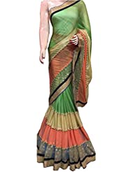 By Design Women's LICRA Saree (SAREE-GREEN LICRA SAREE_GREEN_Free Size)