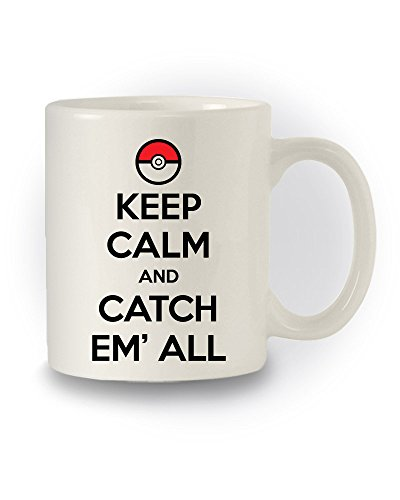"Tazza ispirata ai Pokémon con scritta ""Keep Calm And Catch Them All"""
