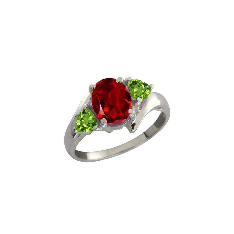 1.92 Ct Oval Red Garnet and Green Peridot Sterling Silver Ring