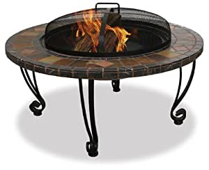 UniFlame WAD820SP 34-Inch Slate & Marble Firepit with Copper Accents