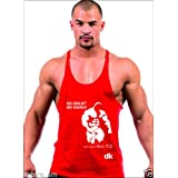 Dk BODY BUILDING STRINGER, GYM VEST, VEST, GYM STRINGER VEST 100% COTTON - Red Printed