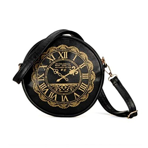 uxcell® Retro Clock Watch PU Leather Cute Kawaii Handbags Purses Shoulder Bag