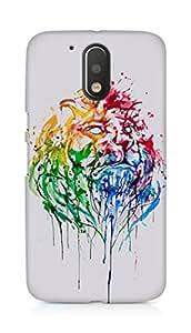 Amez designer printed 3d premium high quality back case cover for Motorola Moto G4 Plus (Paint Lion Head)