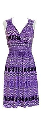 Vibrant V-neck Knee Length Dress - Assorted Styles Plus & Regular Sizes