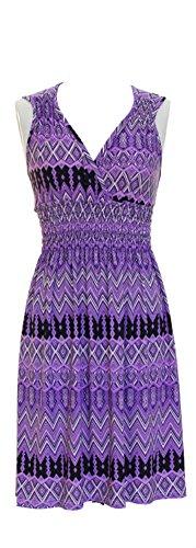 Vibrant V-neck Knee Length Dress – As…