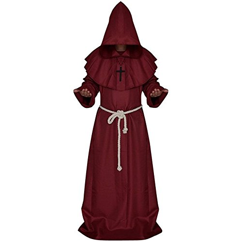 [QuietClouds The Medieval Friar Halloween Cosplay Costume Priest Monks Hooded Robe,cos01-red-S] (Priest Halloween Costume Deluxe)