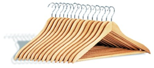 Neu Home 4155 Organize It All 15-Pack Natural Dress Hanger with Wood Bar