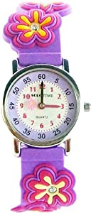 Gone Bananas - Sparkling Flowers Analog Girls' Watch with Animated Flower Second Hand, Stones and Purple Band - Free Shipping