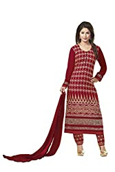 BanoRani Red Color Faux GeorgetteFull Sleeves Embroidered Untitched Salwar Suit (Pant Style)