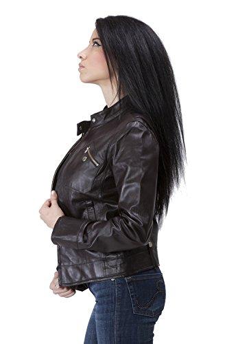 United Face Womens Lambskin Leather Moto Jacket Medium Brown