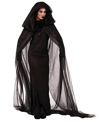 [Aoibox Women's Halloween Costume Witch Prom Dress with Long Cloak] (Adult Vampire Halloween Costumes)