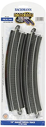 """Bachmann Trains Snap-Fit E-Z Track 18"""" Radius Curved Track (4/card)"""