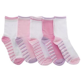Kinder/Mädchen Socken mit Muster, reich an Baumwolle (5er Pack) (EUR 37-38,5 (13+ Jahre)) (Baby Pink/Weiß)