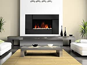 WESTMINSTER BLACK PANEL FLAT GLASS WALL MOUNTED ELECTRIC FLICKER LIVING FLAME FIRE FIREPLACE