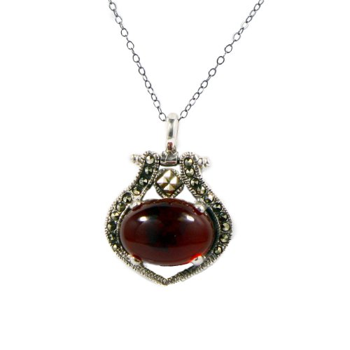 Sterling silver marcasite reconstituted amber pendant necklaces on 18