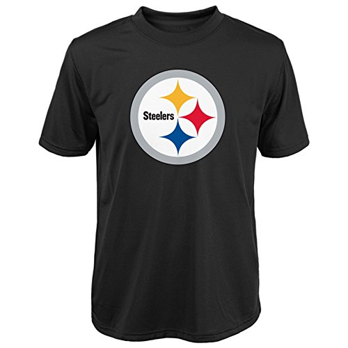 NFL Pittsburgh Steelers Youth Short Sleeve Team Logo Poly Tee (Age 4-18), Black, 2X