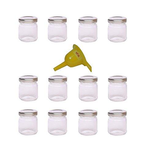 Viva-Haushaltswaren Lot de 12 mini bocaux à confiture avec couvercles vissables et entonnoir Argenté 53 ml