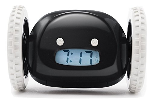 Rightwell Alert Loud Alarm Clock Hide and Seek Runaway Alarm Clock Two Wheels Funny and Cute Alarm Clock for Lazy People(Black)
