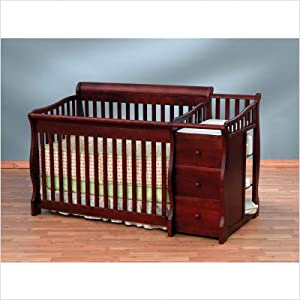 Bundle-74 Tuscany 4-in-1 Convertible Crib N Changer in Cherry (2 Pieces) Finish: Espresso