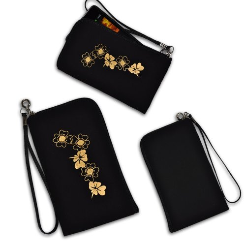 Handy Tasche schwarz/gold B3 für Apple iPhone 5 / Apple iPhone V / HTC Desire X / HTC Desire C / HTC 7 Surround / HTC Desire V / Motorola Atrix 2 / Motorola XT615 / Motorola Razr i XT890 / HTC Windows Phone 8S