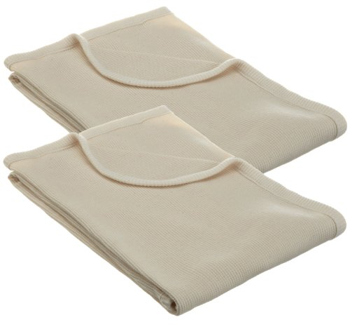 American Baby Company 100% Cotton Thermal Blanket, Ecru, 2 Count - 1