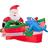 CHRISTMAS DECORATION LAWN YARD INFLATABLE SANTA CLAUS FISHING IN BOAT ANIMATED 4' TALL