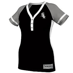 MLB Chicago White Sox Ladies Diamond Diva Fashion Top, Black Grey White by Majestic