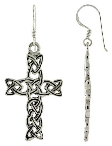 Sterling Silver Cross Braided Celtic Dangle Earrings, 1 3/4 inch (46 mm) tall