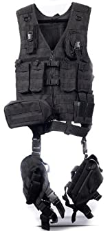 Ultimate Arms Gear Tactical Scenario Stealth Black MOLLE Compatible Deluxe Modular Web Vest With Holster & Essential Modular Gear Set