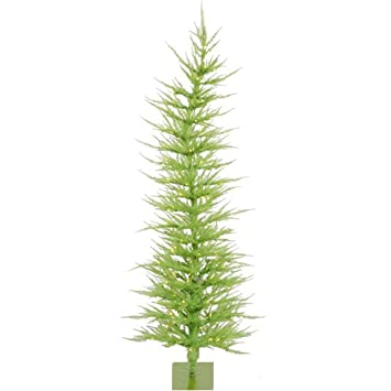 #!Cheap 6' Pre-Lit Whimsical Chartreuse Green Artificial Christmas Tree - Clear Lights